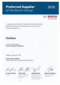 Preferred Supplier Award 2016 from Bosch