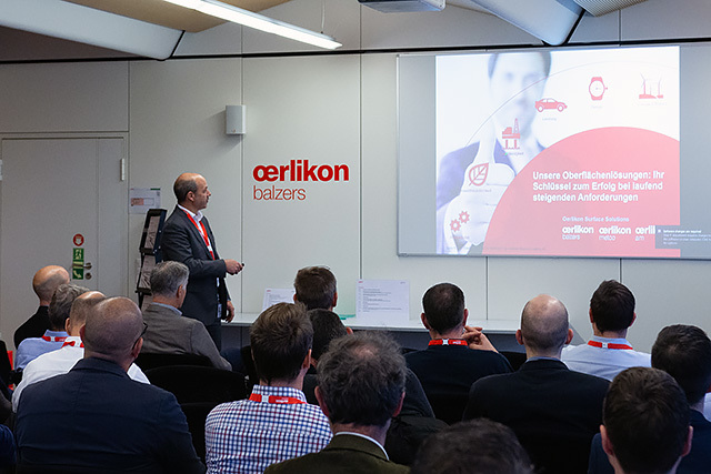 Thomas Schweizer, Managing Director of the coating centres in Liechtenstein and Switzerland, introduces Oerlikon Balzers to the attendees.