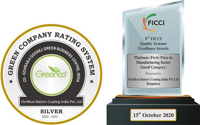 Oerlikon Balzers receives GreenCo Certification and Platinum Quality Excellence Award in India