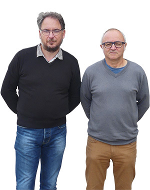 Alain Denoirjean (left), Head of Research at IRCER, and Philippe Thomas (right), Director of IRCER