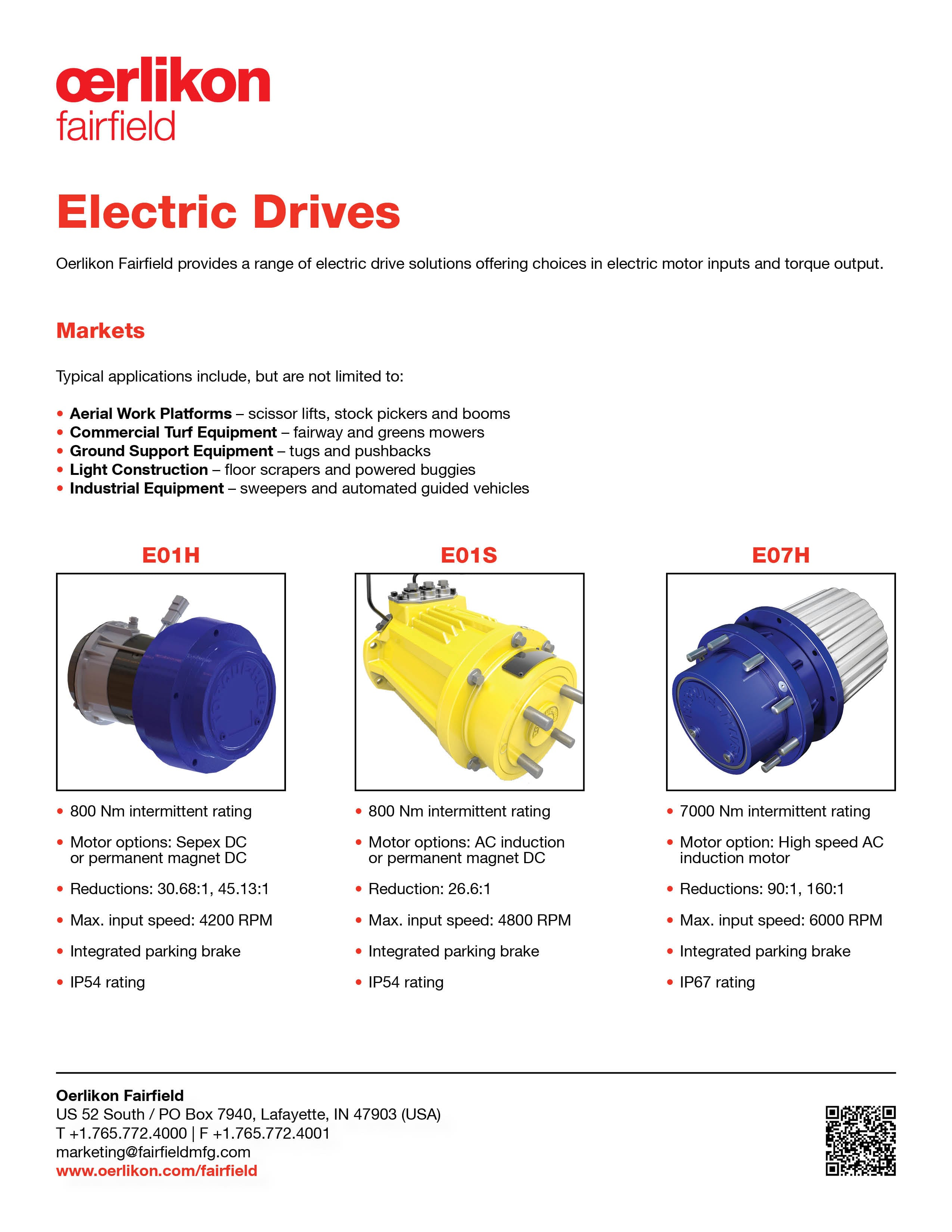 Tech Sheet - Electric Drives