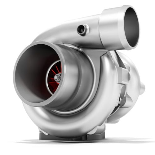 3d turbine turbo charger, car booster on white background 3D illustration